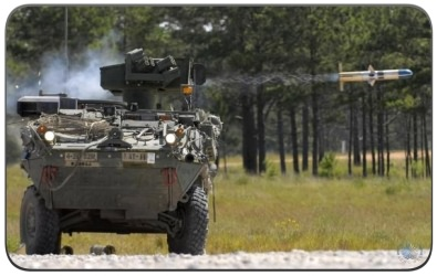 Stryker Vehicle Firing a TOW-2B Aero Missile