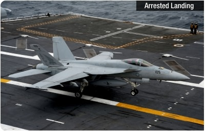F/A-18 arrested landing on carrier deck