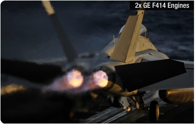 The F/A-18E/F is powered by two General Electric F414 turbofan engines
