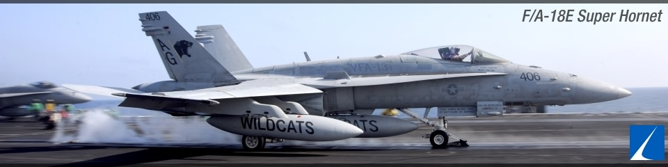 F/A-18E taking off from carrier deck